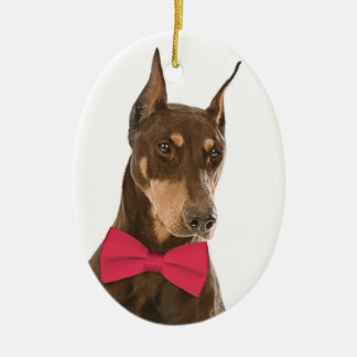 Red and Rust Doberman Christmas Ornament