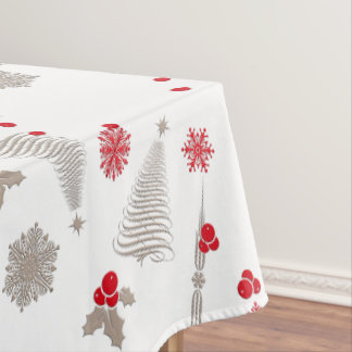 "Red and Silver Christmas Cotton Tablecloth,52""x70"" Tablecloth"