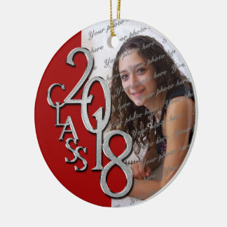 Red and Silver Class 2018 Graduation Senior Photo Christmas Ornament