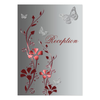 Red and Silver Floral Butterflies Reception Card Business Card Templates