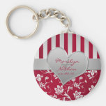 Red and Silver Floral Heart Keychain