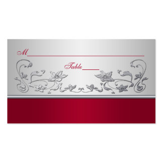 Red and Silver Floral Place Cards Business Card Template