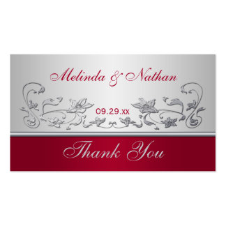 Red and Silver Floral Wedding Favor Tag Business Cards