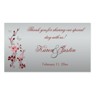 Red and Silver Floral with Butterflies Favor Tag Business Card