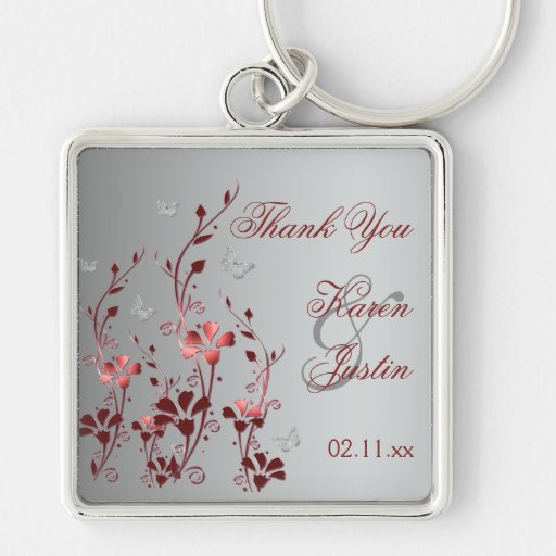 Red and Silver Floral with Butterflies Keychain