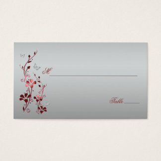 Red and Silver Floral with Butterflies Placecards