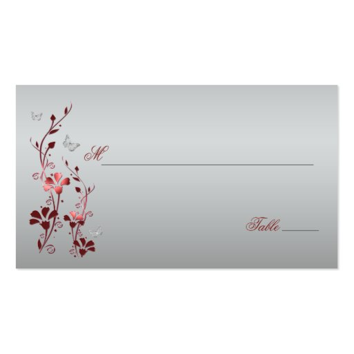 Red and Silver Floral with Butterflies Placecards Business Cards