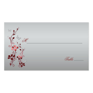 Red and Silver Floral with Butterflies Placecards Pack Of Standard Business Cards