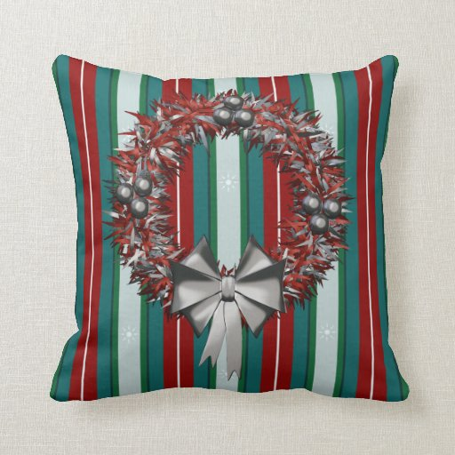 Red and Silver Holiday Wreath Decorative Cushions Pillows