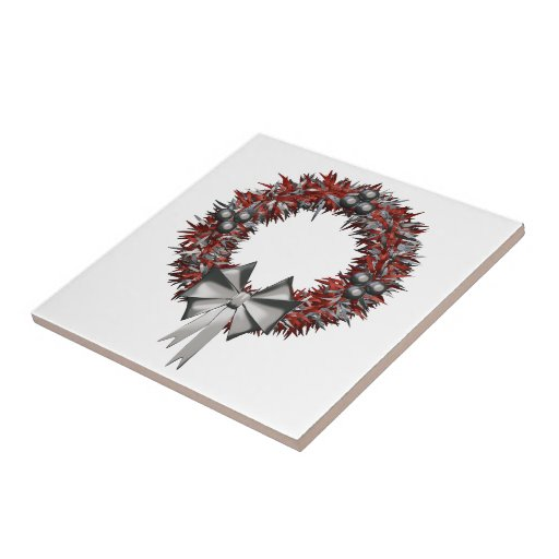 Red and Silver Holiday Wreath Decorative Tiles