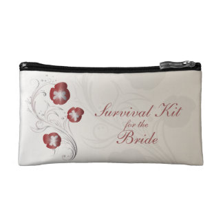 Red and Silver Pansy Brides Survival Kit Cosmetics Bags