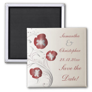 Red and Silver Pansy Wedding Save the Date Square Magnet