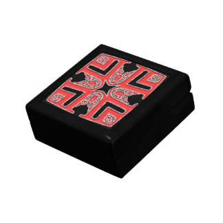 Red and Silver Patterned top Gift Box