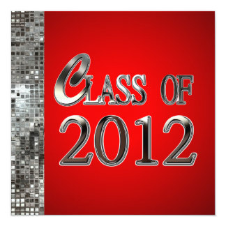 Red And Silver Sequins Graduation Invitations