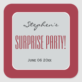 RED and SILVER Surprise Birthday Party Add Name A1 Square Sticker