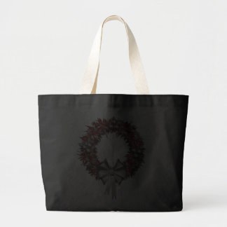 Red and Silver Wreath Holiday Tote Jumbo Tote Bag