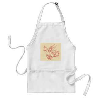 Red and Tan Dragon Apron