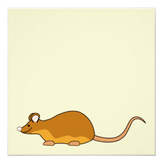 Red and Tan Pet Mouse. 13 Cm X 13 Cm Square Invitation Card