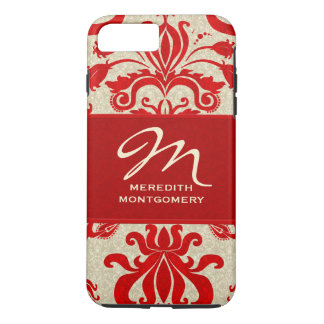 Red and Taupe Damask Professional Theme iPhone 7 Plus Case