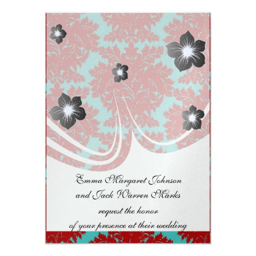 red and teal aqua bold intricate damask invite