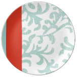 Red and Teal Blue Floral Damask