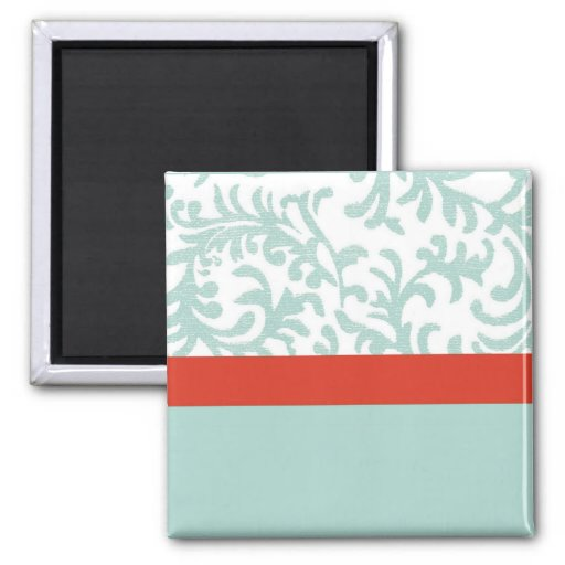 Red and Teal Blue Floral Damask Square Magnet