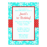 Red and Teal Snowflakes Winter Onederland Personalized Announcement