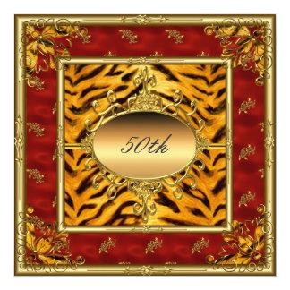 Red and Tiger fur 50th Birthday Invitation