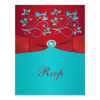 Red and Turquoise Floral Reply Card 11 Cm X 14 Cm Invitation Card