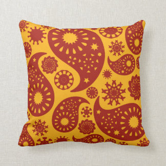 Red and Warm Yellow Paisley Pattern. Cushion