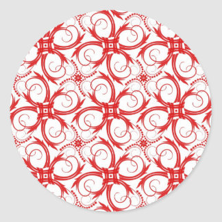 Red and White Abstract Collection Round Sticker