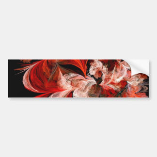 Red and White Abstract Design on Black Bumper Sticker