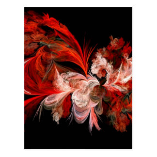 Red and White Abstract Design on Black Postcard