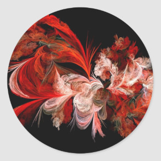 Red and White Abstract Design on Black Sticker