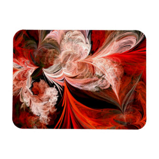 Red and White Abstract Feathers Magnet