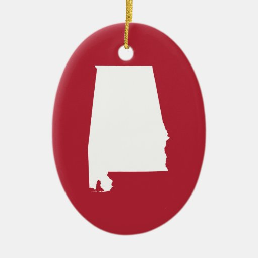 Red and White Alabama Double-Sided Oval Ceramic Christmas Ornament