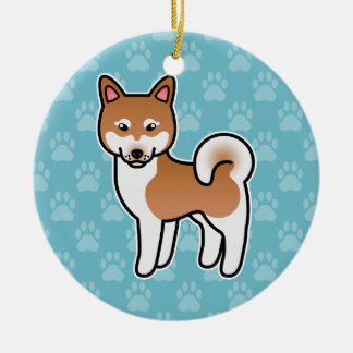 Red And White Alaskan Klee Kai Cartoon Dog Round Ceramic Decoration