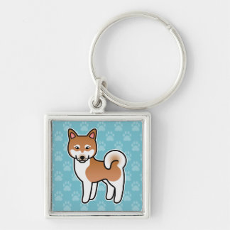 Red And White Alaskan Klee Kai Cartoon Dog Silver-Colored Square Key Ring