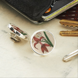 Red and White Amaryllis Flower Lapel Pin