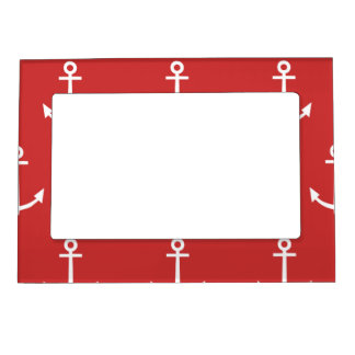 Red and White Anchors Pattern 1 Magnetic Frame