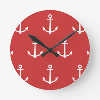 Red and White Anchors Pattern 1 Round Clock