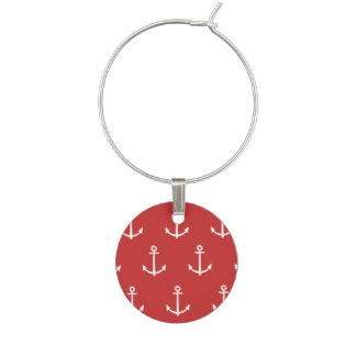 Red and White Anchors Pattern 1 Wine Charm