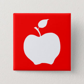Red and White Apple 15 Cm Square Badge