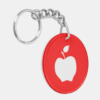 Red and White Apple Key Ring