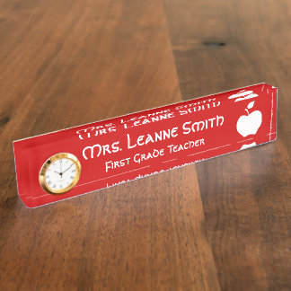 Red and White Apple Teacher Nameplate