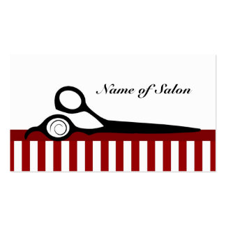 Red and White Barber Stripes Hair Salon Scissors Pack Of Standard Business Cards