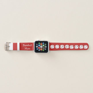 Red and White Baseball Mom Apple Watch Band