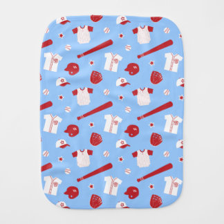 Red and White Baseball Theme Pattern Baby Burp Cloths