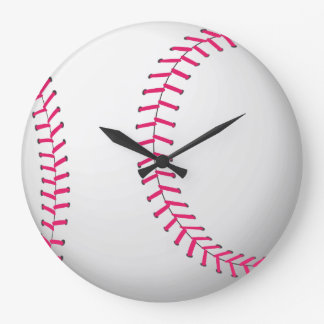Red and White Baseball Wall Clock