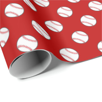 Red and White Baseballs   Any Background Color Wrapping Paper